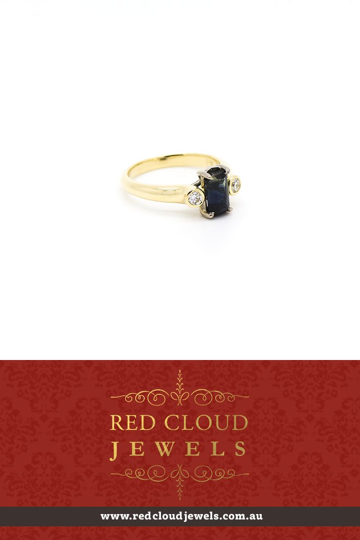 This dress ring featuring two diamonds (0.25ct) set in 18ct yellow gold with a sapphire set in 18ct white gold. | Outstanding Jewellery for Outstanding Individuals | www.redcloudjewels.com.au