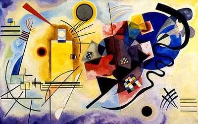 Jaune-rouge-bleu (1925) de Kandinsky = GEOMETRISATION des formes arrive notamment avec BAUHAUS