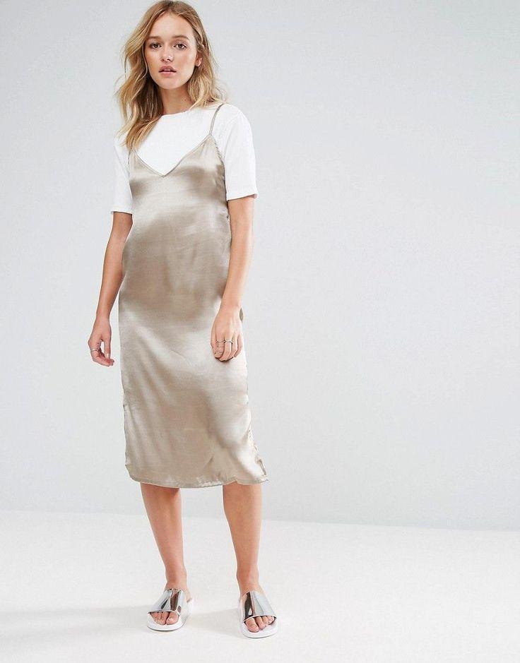 Neon Rose 2 In 1 Satin Slip T-Shirt Midi Dress - Brown