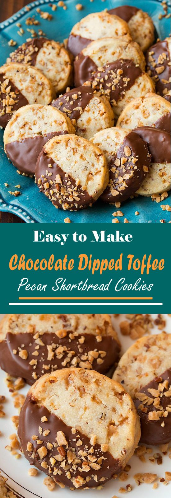 Easy to Make Chocolate Dipped Toffee Pecan Shortbread Cookies