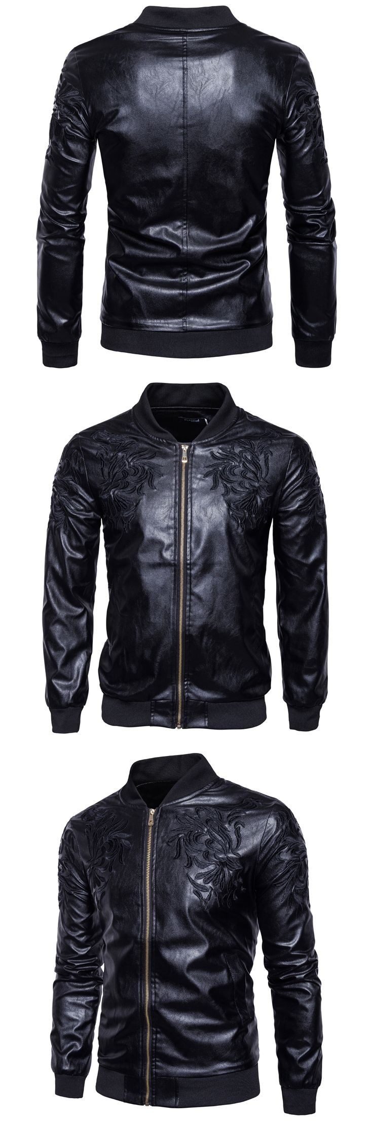 Fashion Winter New Brand Mens PU Jacket Mosaic Embroidery Punk Motorcycle Style Mens Long Sleeve Synthetic Leather Slim Jacket