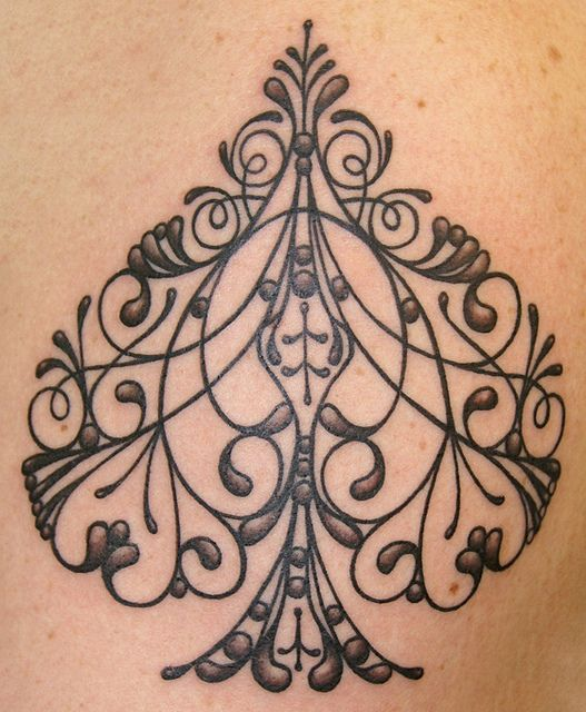 Filigree spade tattoo by Southside Tattoo & Piercing - Tim Baxley