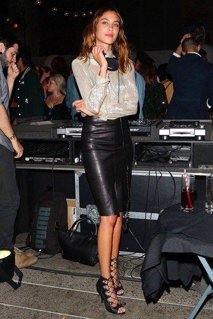 Alexa at NYFW leather pencil skirt