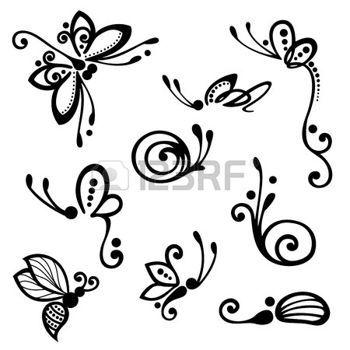 Papillon libellule dessin vector set of stylis es - Dessin petit papillon ...