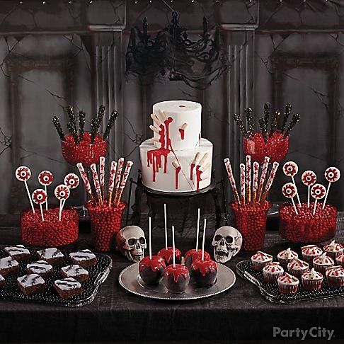 """Check out 6 dreadfully good treats! Wow your guests with a Severed Fingers Cake, Chain-Theme Brownies, Bloodied Cupcakes, Edible """"Bones"""", and Sinister Candy Apples!"""