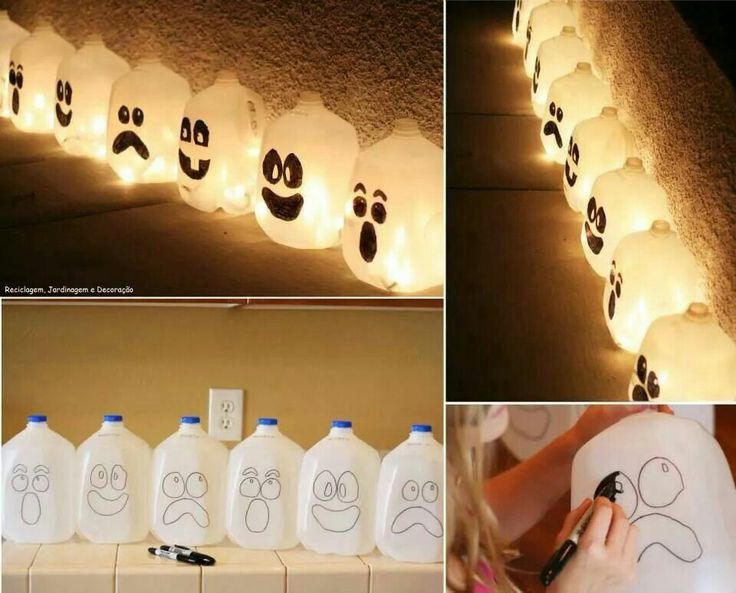 Draw the faces on with sharpie. Simply fill with water and drop in a glow stick. Cute idea for your walkway.