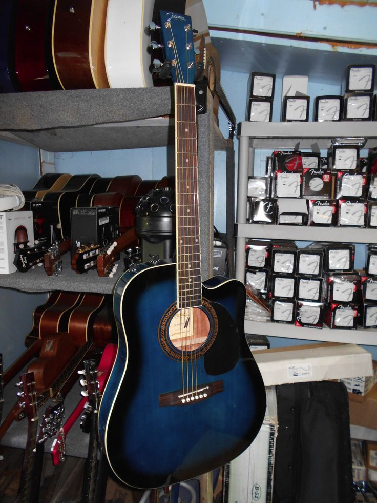 Johnson JG-650-TBL Thinbody Acoustic Guitar with Pickup Blue w/ Hard Shell Case