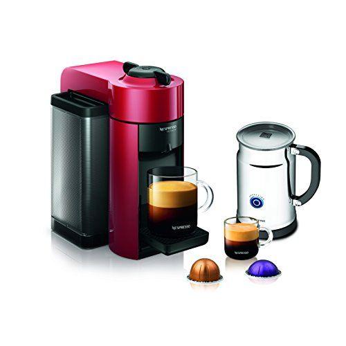Nespresso A+GCC1-US-RE-NE VertuoLine Evoluo Coffee & Espresso Maker with Aeroccino Plus Milk Frother, Red http://stylexotic.com/nespresso-agcc1-us-re-ne-vertuoline-evoluo-coffee-espresso-maker-with-aeroccino-plus-milk-frother-red/