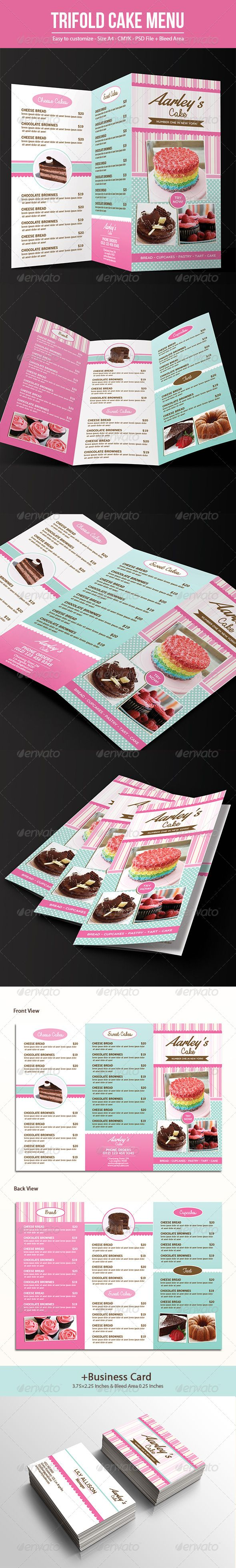Trifold Cake Menu + Business Card Template #design #speisekarte Download: http://graphicriver.net/item/trifold-cake-menu-business-card/7642416?ref=ksioks