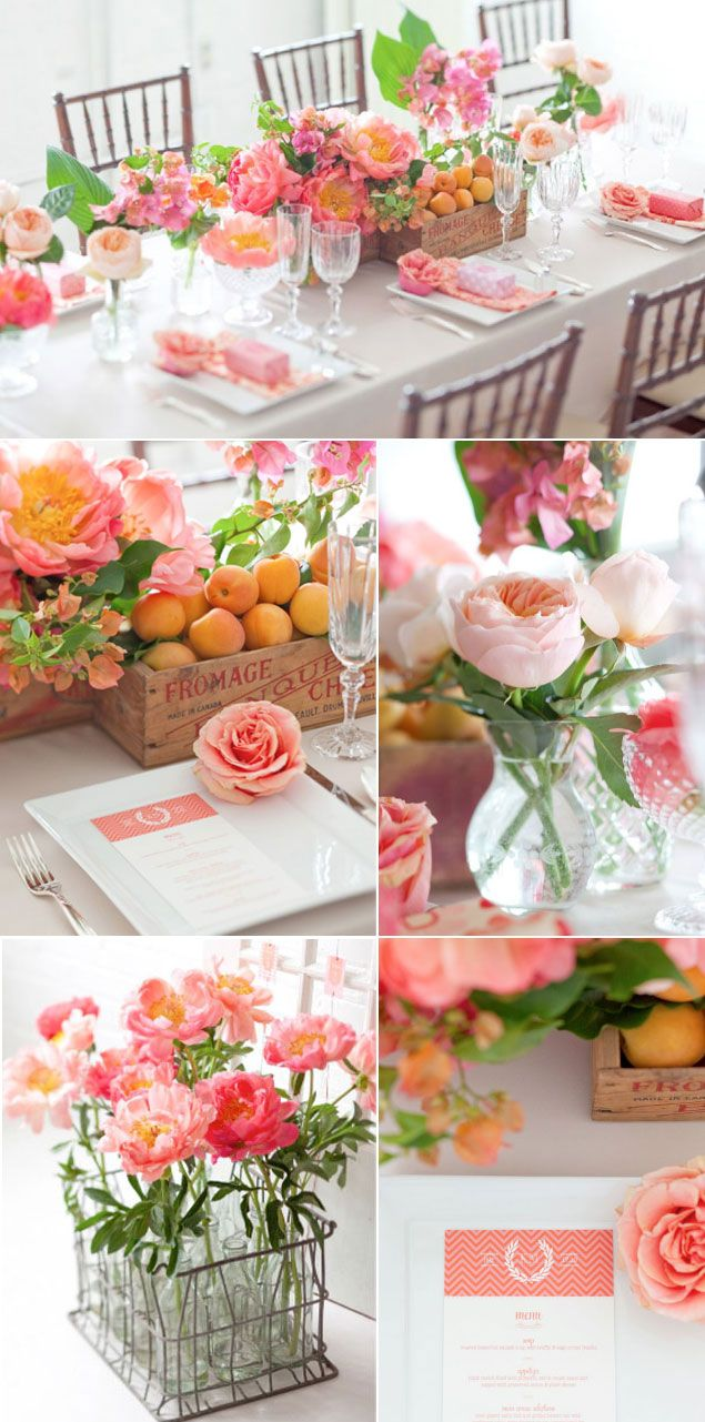 We love the colours in this palette... soft pinks mixed with a zing of orange work so well and look so summery! The vintage crate filled with nectarines/peaches looks so effective!!!