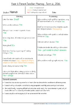 These student information sheets are invaluable for your Parent-Teacher Meetings or Parent Interviews.This product is aligned to Year 6 standards  one sheet for Semester 1 and a different sheet for Semester 2.These Parent Information Sheets are in a PowerPoint file so that they are EDITABLE for you to personalise for your own students.