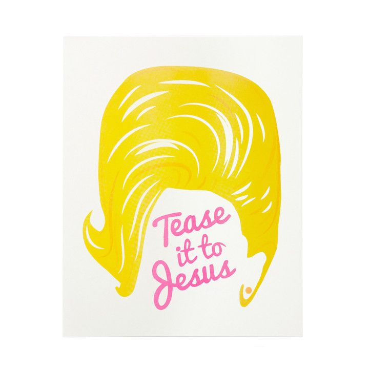 "Tease it to Jesus! This illustration was inspired by the larger-than-life 'do of everyone's favorite blond, Dolly Parton. Printed in yellow and fluorescent pink ink. - 8"" x 10"" - Risograph printed wit"