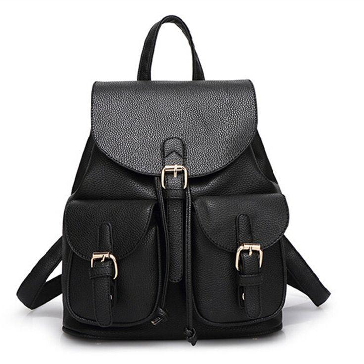 Women Leather Backpack Fashion Black Schoolbag for Adolescent Girls Cute Candy Color Pink Beige Female Travel Bag;Bolsas Mochila #Affiliate