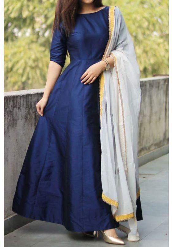 FatimaBi Pakistani Long Silk Anarkali Dress Ramadaan Kameez Designer Summer Suit #FatimaBi #AnarkaliKameez