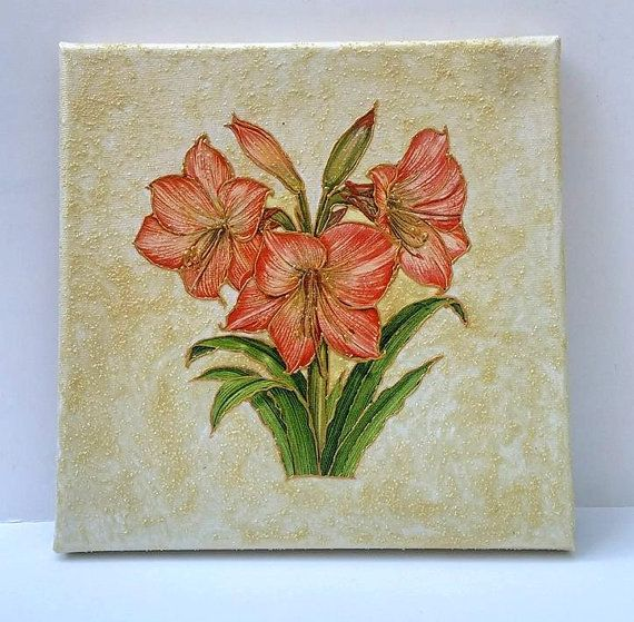 #Picture with amaryllis#Wall art canvas# Flower wall decoration#Wall art#Wall art canvas#Stylish picture#Amaryllis art decoupage#Art gift#by BeautyHouseLTD