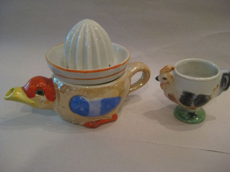 Eclectic vintage egg cup collection + hand juicer