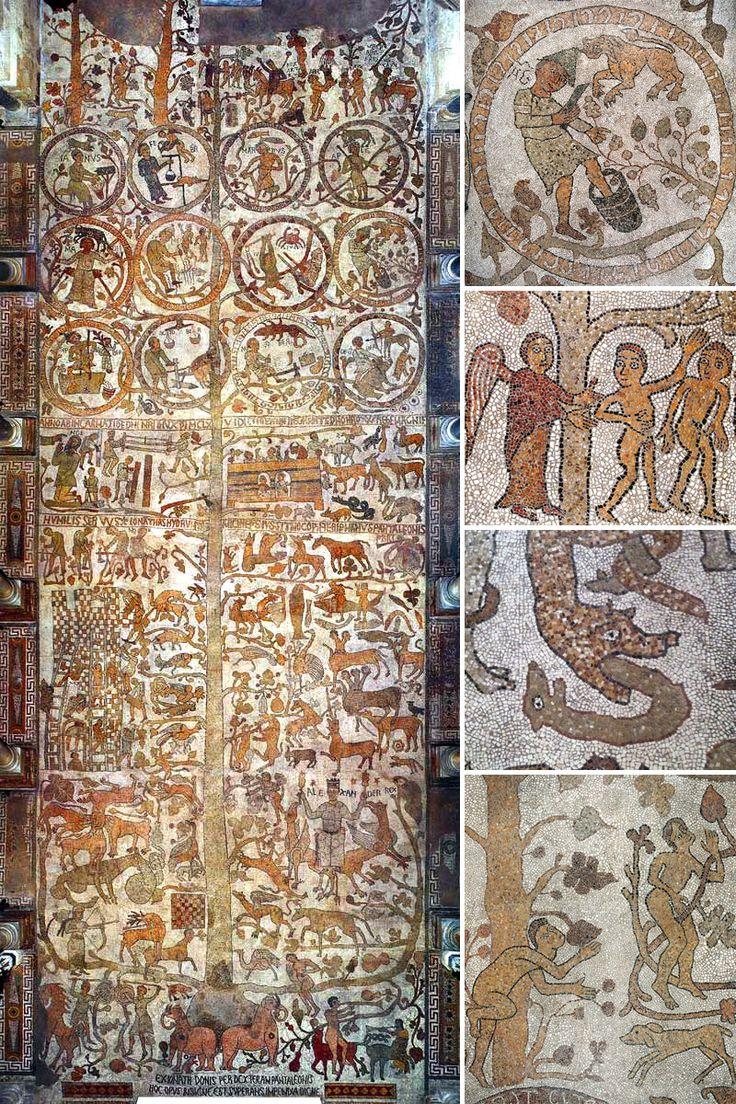 L'immenso mosaico pavimentale della Cattedrale di Otranto realizzato dal monaco Pantaleone tra il 1163 e il 1165. Il tronco dell'albero attraversa tutta la navata mentre ai suoi fianchi si snodano scene bibliche ed eventi storici. Nella parte superiore dodici tondi raffiguranti i mesi dell'anno, quasi a rimarcare il primitivo legame tra religione e tempi della natura. (in L'albero della vita nella storia dell'arte | DidatticarteBlog)