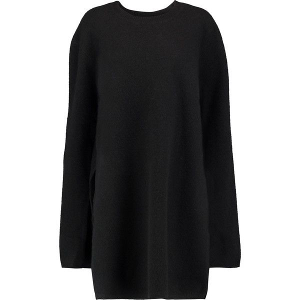 Ellery Soliloquy merino wool sweater (€420) ❤ liked on Polyvore featuring tops, sweaters, black, side slit sweater, merino sweater, merino wool tops, loose fitting tops and loose fit tops