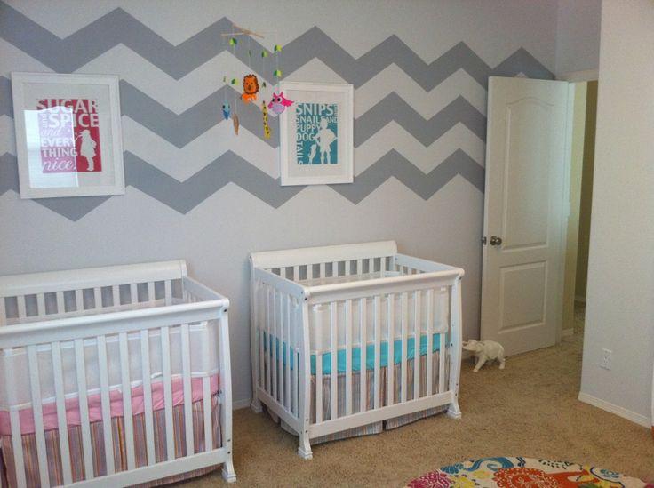 Boy and girl twin nursery // Chambre de bébé pour jumeaux garçon et fille. I like the mini cribs for smaller spaces.