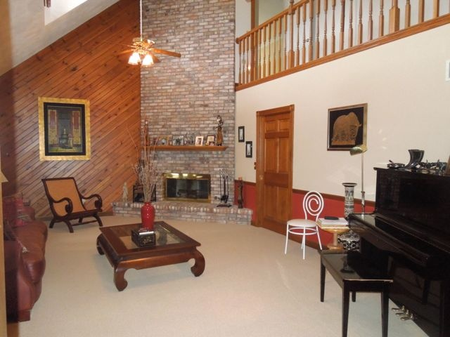 Dramatic 2 Story Great Room With Full Masonry Fireplace