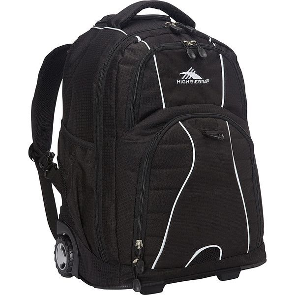 High Sierra Freewheel Rolling Backpack - Black - Rolling Backpacks ($64) ❤ liked on Polyvore featuring bags, backpacks, black, wheeled backpacks, padded backpack, mesh zipper bags, zip lock bags, mesh bag and high sierra backpack
