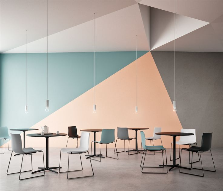 Cafeteria with Catifa 46 chairs in new colors by Arper