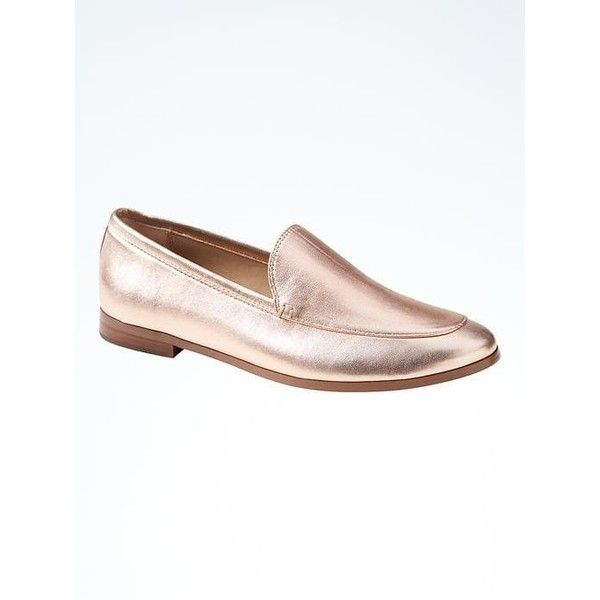 Banana Republic Womens Demi Loafer ($108) ❤ liked on Polyvore featuring shoes, loafers, rose gold, leopard print loafers, black loafers, banana republic shoes, navy blue loafers and closed toe shoes