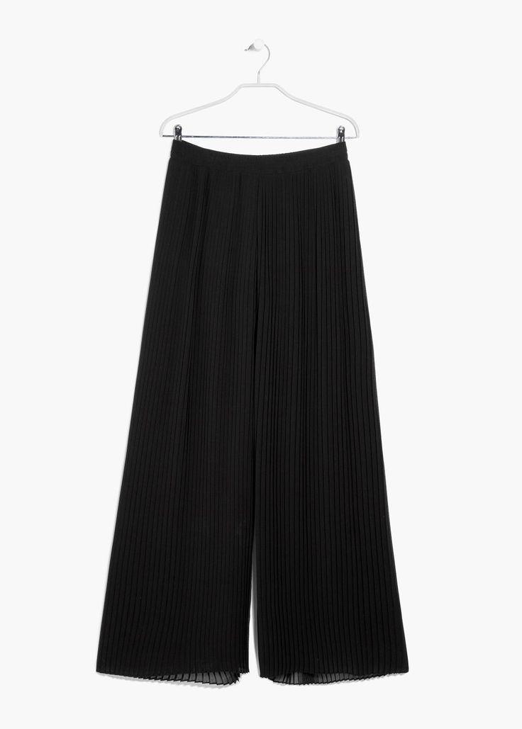 Pantalon palazzo plissé, Noir - MANGO