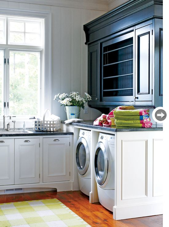 great laundry spaceDry Racks, Dreams Laundry Room, Mudroom, Black Cabinets, Mud Room, Room Ideas, Laundry Rooms, Drying Racks, Beautiful Laundry