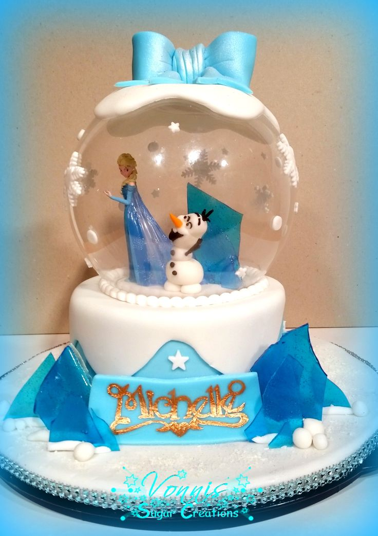 Frozen Cake Kuchen Fondant Elsa Anna Olaf Schneekugel Eistorte Eis Ice