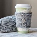 Make this easy DIY Knitted Cup Cozy with vintage buttons for yourself or for a gift!! Photo steps and instructions included!