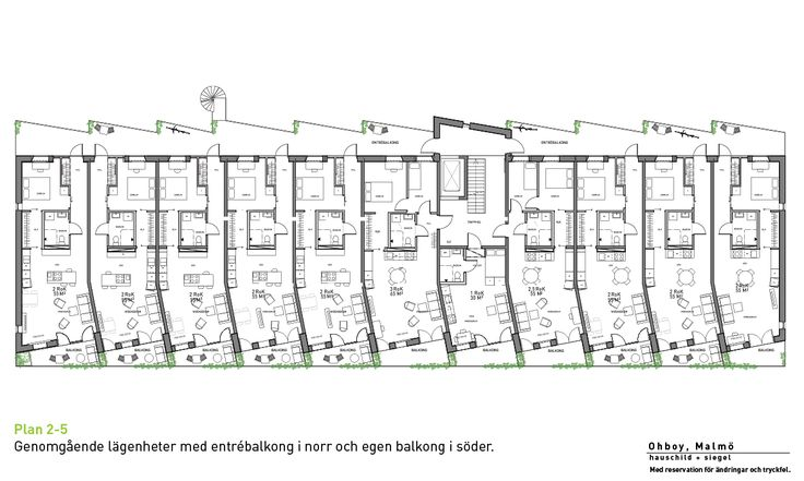 Cykelhuset Ohboy: Floorplans floor 2-5