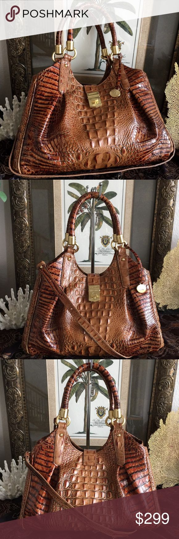 "🌴NEVER USED 🌴BRAHMIN TOASTED ALMOND ELISA HOBO🌴 Brahmin TOASTED ALMOND ELISA Never used. Still has plastic protective film on latch hardware.  Comes w/Brahmin Dust Bag Croc Embossed leather wgold tone hardware to finish the classic Brahmin look! Beautiful bag featuring front and back pleats.  Suede-like lining w/center zip divider  Additional zipper compartment,2 organizing slip pockets  Fold over tab turn lock closure  Footed bottom  Handles 9"" drop-will fit over shoulder  Strap 17""drop…"