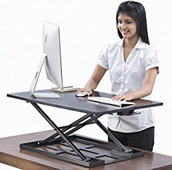 Table jack Standing desk converter – 32 X 22 inch Extra large Ergonomic height adjustable sit stand up desk converter that can act as a desk riser adaptable for a dual monitor setup