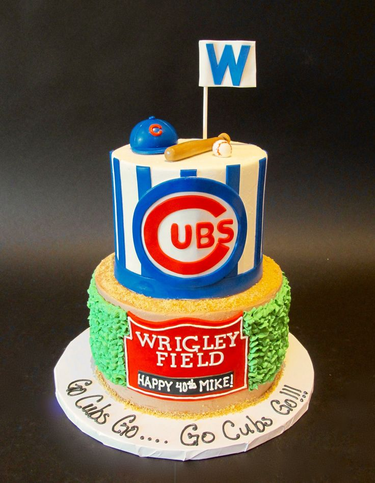 Birthday Cake With Wrigley Field Sign Chicago Cubs CakeAdult Cakes40th BirthdayBirthday Party IdeasBirthday