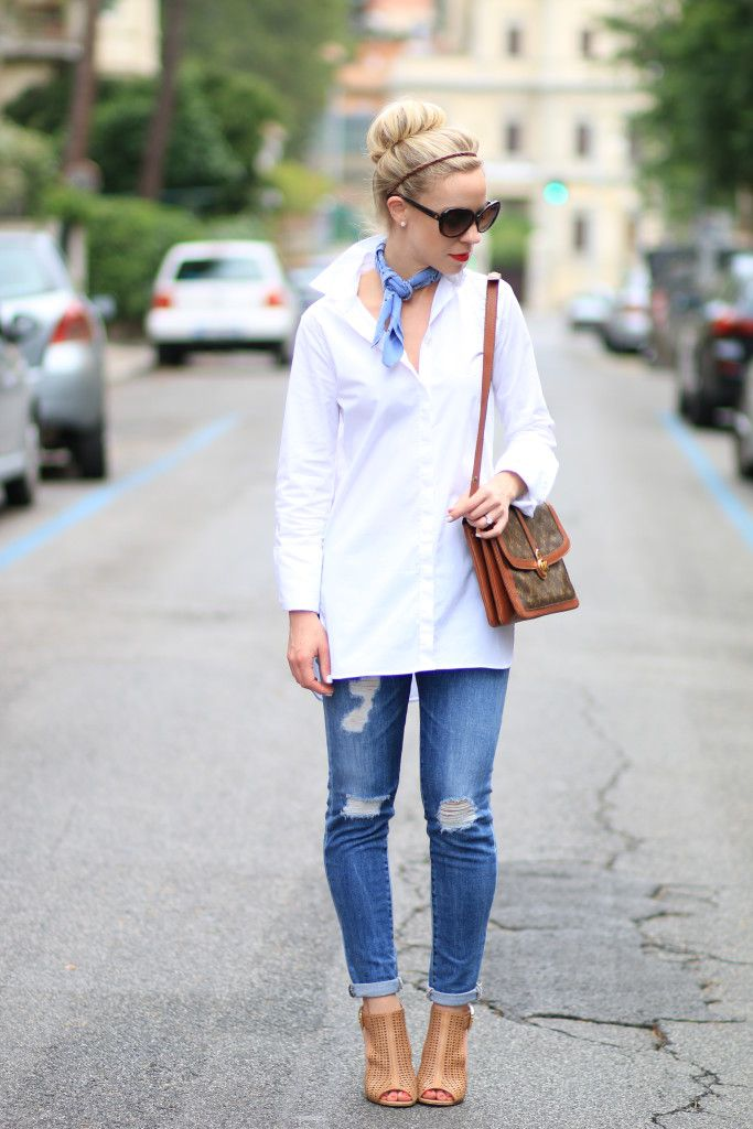 Americana: J. Crew white tunic button down shirt, neckerchief, Adriano Goldschmied distressed denim, vintage Louis Vuitton bag, tan peep-toe booties, bandana outfit, how to tie a bandana at the neck