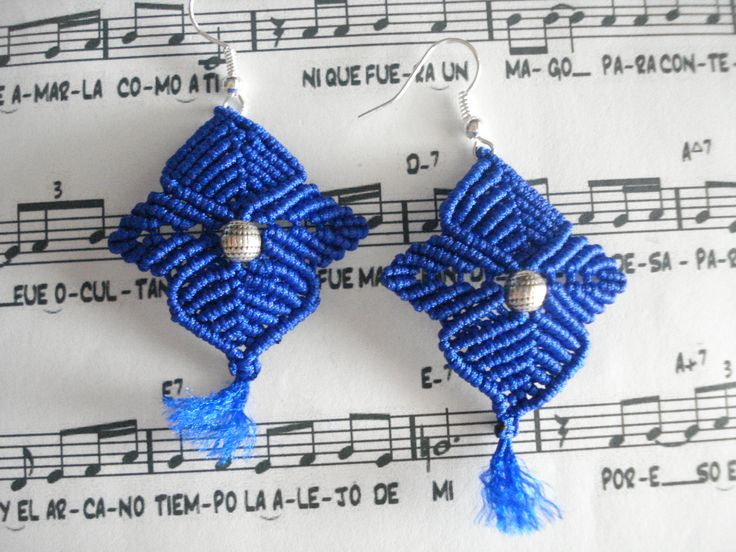 Electric blue star earrings. Totally handmade.