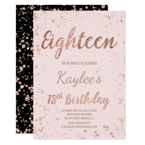 120 best typography birthday invitations images on pinterest faux rose gold confetti blush 18th birthday invitation stopboris Image collections