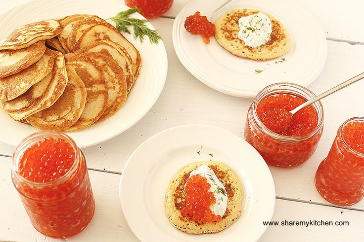 Blini with Russian caviar. It can be eaten with - just jam or sour cream. Its pretty good on its own too. I love love the blini with cherries or other fruit. The ones with raisins are great too.