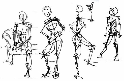 Very quick gesture drawings of people.