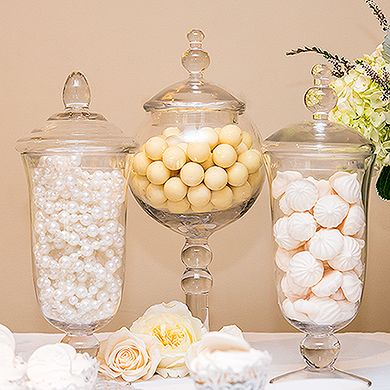 Decorative Pedestaled Apothecary Jar with Globe Shaped Bowl