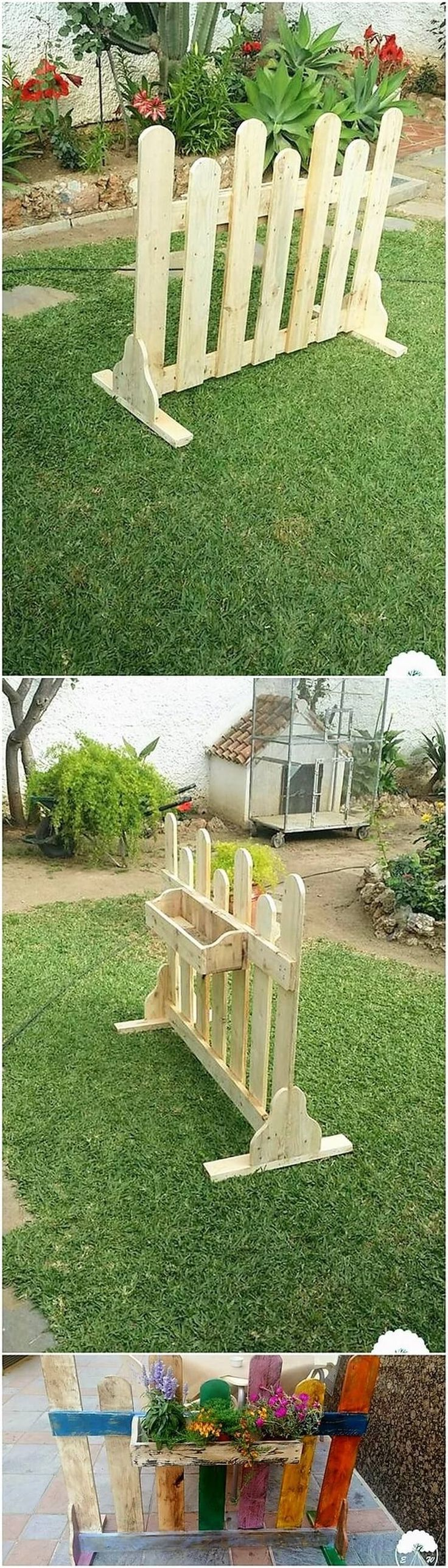 Yet a small but quite an inspiring looking garden fence with planter design has been put forward in this image as manufactured with wood pallet use. It is miniature in sizing so you can probably make it place in any corner of the garden. It would look catchier by making it add with floral effect piece. #palletoutdoorfurniture