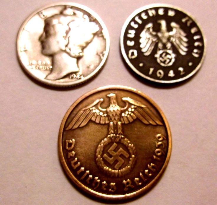 #coins EX-Rare Lot Nazi D 2 cent coin & 1944-D Mercury Dime 90% Silver German 3rd Reich please retweet