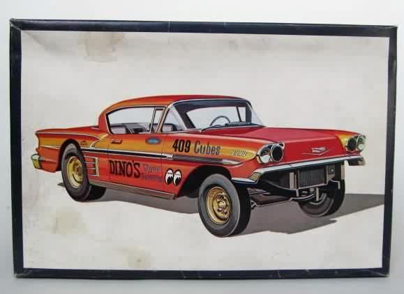 "AMT - 58 Chevy ""Ala Impala"" model kit. | Model box art. | Pinterest | Model cars kits, Kit cars and Chevy"