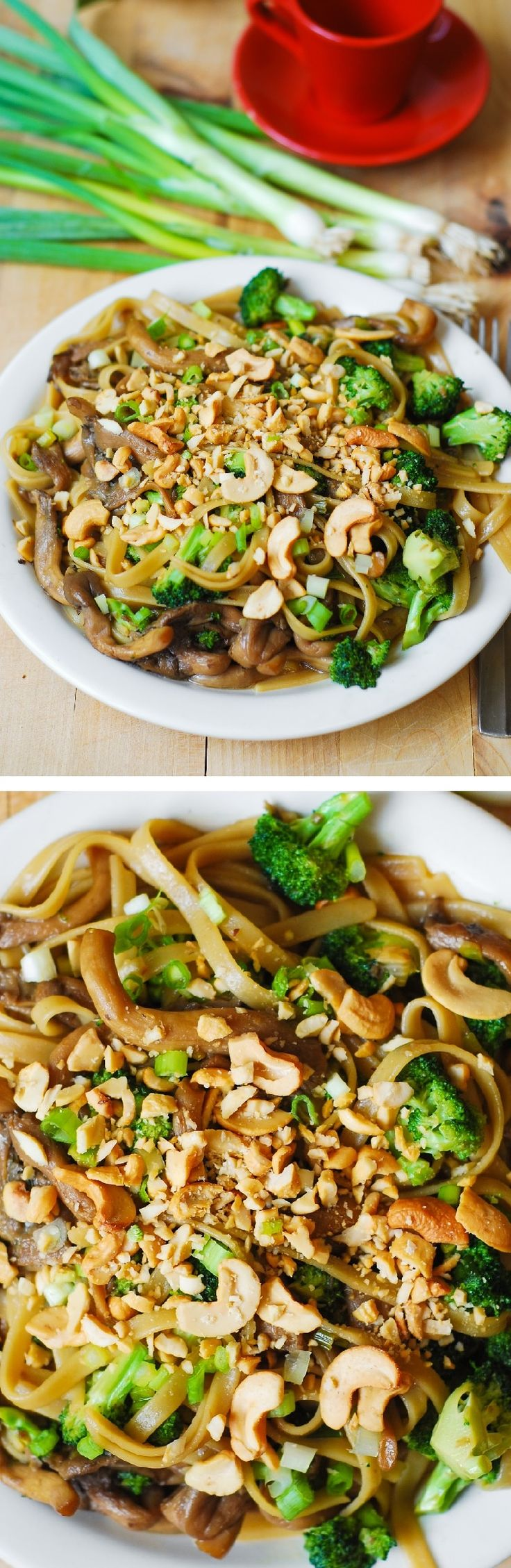 Asian-flavored pasta with broccoli and oyster mushrooms. Vegetarian, gluten free recipe using Fettuccine Style Brown Rice Pasta and wheat-free tamari sauce.