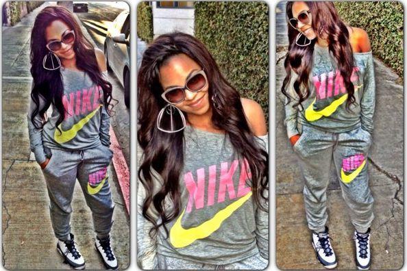 Nike Sweat Suits | Ashanti Rocks An Around The Way Girl Look In A Nike Sweatsuit & Air ...
