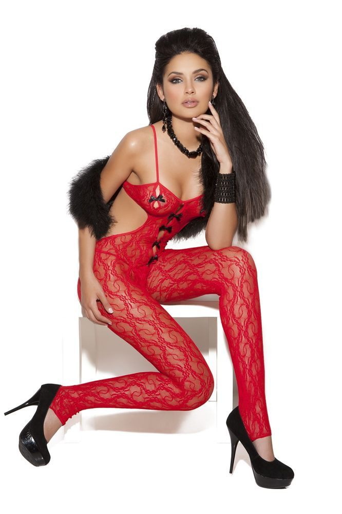 Lace Bodystocking With Satin Bow Detail Vivace OS One Size Women Red #ElegantMoments