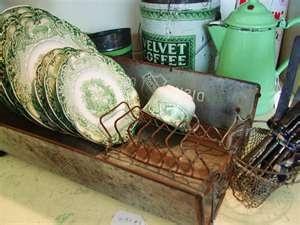 pretty old green dishes: Vintage Collection, Idea, Old Farmhouse Kitchens, Modern Bathroom Design, Bathroom Interiors, Green Bathroom, Design Kitchens, Dishes Racks, Design Bathroom