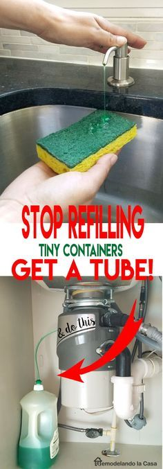 How to Attach a Tube to the Kitchen Soap Dispenser - post shows how to attach a piece of tubing to a detergent bottle cap so it is securely attached. Bypassing the small detergent dispenser is a smart way to eliminate leaky dispenser containers - via Remodelando la Casa