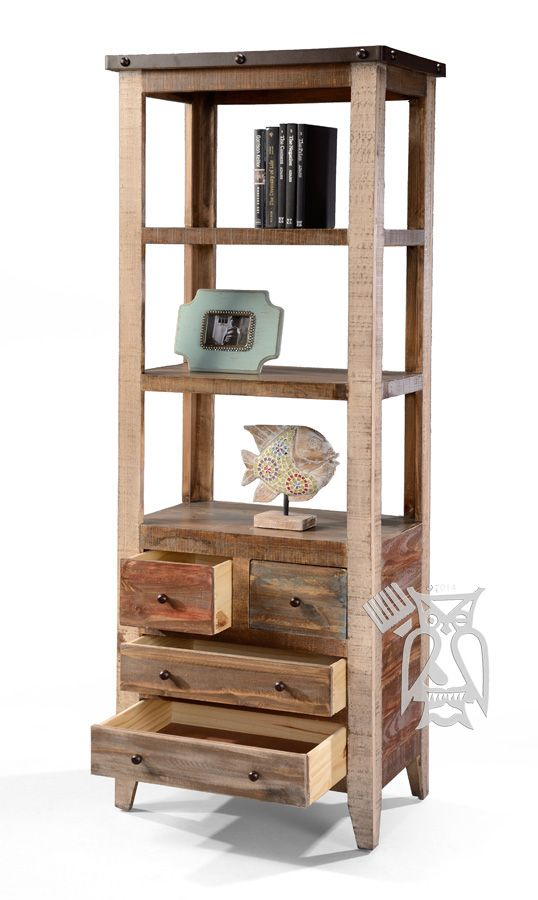 Solid Pine Wood Rustic Open Bookcase with Drawers in Multi-colored Finish